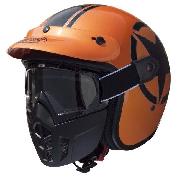 vintage mask star metallic orange